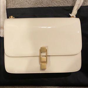 Saint Laurent Carre bag in cream patent leather